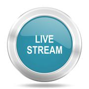 live stream icon, blue round metallic glossy button, web and mobile app desig - stock illustration