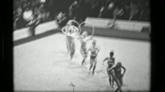 1967: East Germany team hula hoop (part 1 of 2) competition 3rd Women's Modern - stock footage