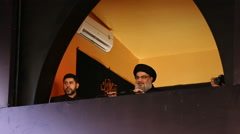 Arrival of Sayyed Hassan Nasrallah at Ashura's ceremony Stock Footage