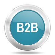 b2b icon, blue round metallic glossy button, web and mobile app design illust - stock illustration