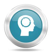 head icon, blue round metallic glossy button, web and mobile app design illus - stock illustration