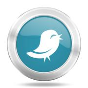 Twitter icon, blue round metallic glossy button, web and mobile app design il Stock Illustration