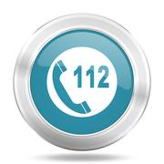 emergency call icon, blue round metallic glossy button, web and mobile app de - stock illustration