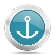 anchor icon, blue round metallic glossy button, web and mobile app design ill - stock illustration