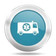 Ambulance icon, blue round metallic glossy button, web and mobile app design  Stock Illustration