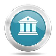 Museum icon, blue round metallic glossy button, web and mobile app design ill Stock Illustration