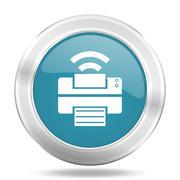 Printer icon, blue round metallic glossy button, web and mobile app design il Stock Illustration