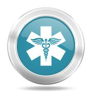 emergency icon, blue round metallic glossy button, web and mobile app design  - stock illustration