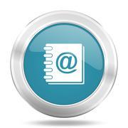 address book icon, blue round metallic glossy button, web and mobile app desi - stock illustration