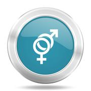 sex icon, blue round metallic glossy button, web and mobile app design illust - stock illustration