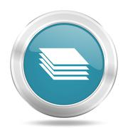 layers icon, blue round metallic glossy button, web and mobile app design ill - stock illustration