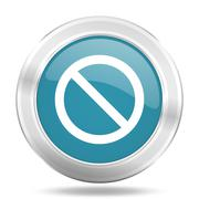Access denied icon, blue round metallic glossy button, web and mobile app des Stock Illustration