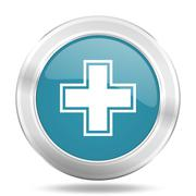 Pharmacy icon, blue round metallic glossy button, web and mobile app design i Stock Illustration