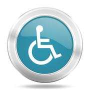 wheelchair icon, blue round metallic glossy button, web and mobile app design - stock illustration
