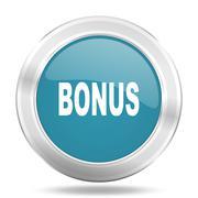 bonus icon, blue round metallic glossy button, web and mobile app design illu - stock illustration