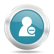 Remove contact icon, blue round metallic glossy button, web and mobile app de Stock Illustration