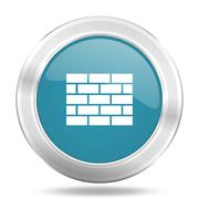 Firewall icon, blue round metallic glossy button, web and mobile app design i Stock Illustration