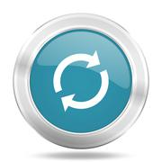 Reload icon, blue round metallic glossy button, web and mobile app design ill Piirros