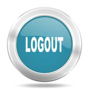 logout icon, blue round metallic glossy button, web and mobile app design ill - stock illustration