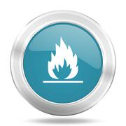 Flame icon, blue round metallic glossy button, web and mobile app design illu Stock Illustration