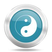 Ying yang icon, blue round metallic glossy button, web and mobile app design  Stock Illustration