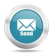send icon, blue round metallic glossy button, web and mobile app design illus - stock illustration