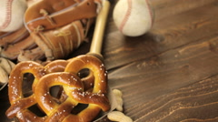 The camera moves over the table with a snack for fans of the game in baseball Stock Footage
