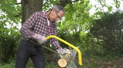 handyman saw oak logs by hand - stock footage