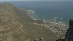 4K Ocean City View From Peak Of Table Mountain Bird On A Rock Stock Footage