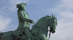4k Clouds timelapse with equestrian statue close up Stock Footage