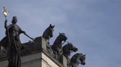 4k Braunschweig Quadriga statue close up Stock Footage