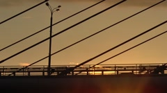 People walking by on Zhivopisny bridge at evening. Moscow, Russia Stock Footage