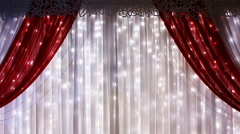 Red curtain on theater, cinema or wedding theme Stock Footage