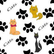 Cats and paws,futprints seamless pattern - stock illustration