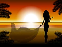 The girl looks at the sunset Stock Illustration