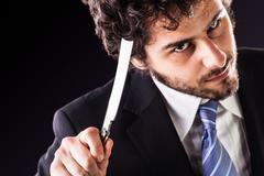 straight razor businessmasn - stock photo