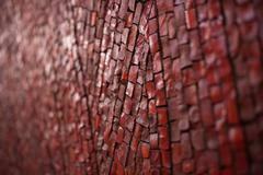 texture of red brick road for walking in park - stock photo