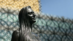 Library of Birmingham, statue detail with camera move. Stock Footage