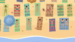 Cartoon Top View / Rest At The Seaside - stock footage
