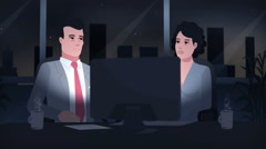 Cartoon Corporate / Work Behind The Monitor At The Night - stock footage