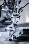 Metalworking milling machine. Cutting metal modern processing technology. - stock photo
