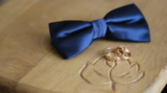 Man accessories, rings, grooms bow-tie Stock Footage