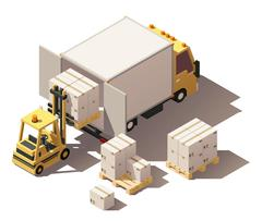 Vector isometric forklift loading box truck with crates on pallets icon Stock Illustration