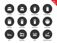 Beds and furniture icons on white background Stock Illustration