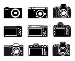 Different type camera icons - stock illustration