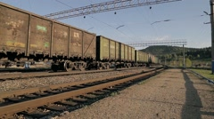 The train rides on the raiway Stock Footage