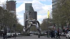 Berlin sculpture & Gedaechtniskirche + new church Belfry tower. Stock Footage