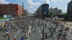Aerial view of Mass Bike Ride at Moscow.  Stock Footage