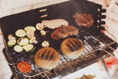 Street fast food, hamburger with bbq grilled steak Stock Photos