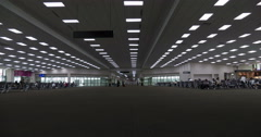 People in interior airport terminal building airport (time lapse) Stock Footage